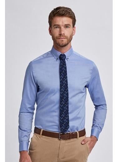 Hemington Koyu Mavi Düğmeli Yaka Oxford Spor Gömlek Mavi